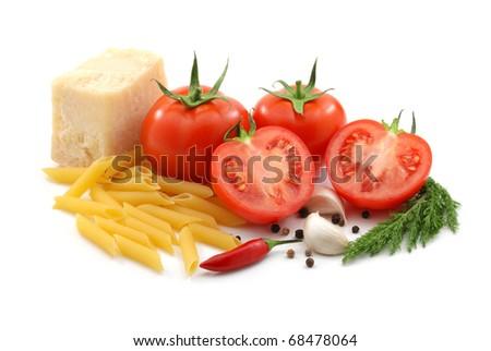 Italian food isolated over white