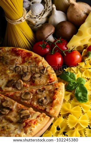 italian food, pizza, pasta and ingredients