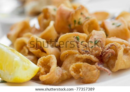 Italian fried calamari rings