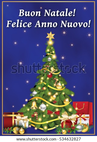 italian greeting card for winter holiday text translation merry christmas and happy new year
