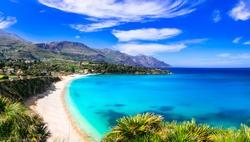 Italian holidays .Best beaches of Sicily island - Scopello