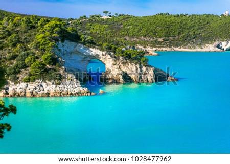 Italian holidays in Puglia - Natural park Gargano with beautifulturquoise sea