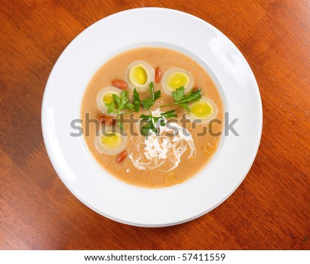 Italian kitchen.meat thick soup with vegetable..onion soup