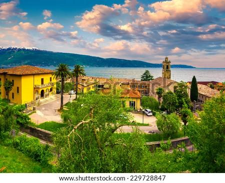 Italian lake houses with stunning view on Lake Garda, Gargnano, Lombardy, Italy