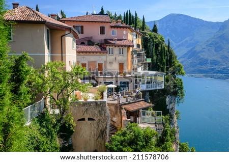 Italian lake houses with stunning view on Lake Garda, Pieve, Tremosine, Lombardy, Italy