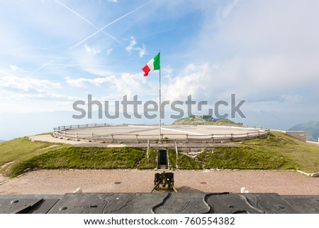 Italian landmark. First world war memorial from  Monte Grappa, Italy. Italian Alps #760554382