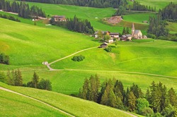 Italian landscape in Funes valley, Dolomiites