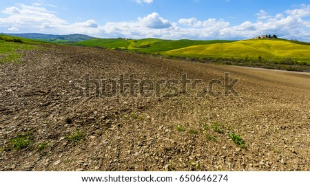 Italian landscape with meadows early in the spring. Agriculture in Italy, plowed fields, pastures and farmhouse on the hill. #650646274