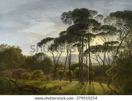 Italian Landscape with Umbrella Pines, by Hendrik Voogd, 1805, Dutch painting, oil on canvas. The sun casts long shadows, and the trees stand out sharply against the sky in the Gardens of the Villa Bo