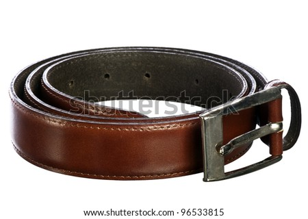 Italian leather belt for men on white background