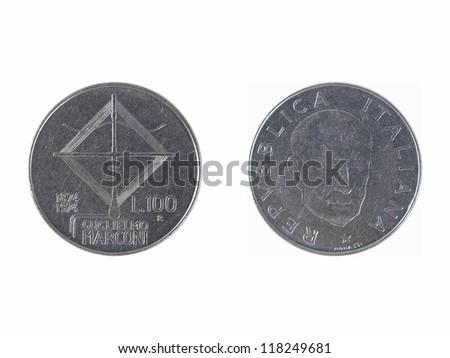 Italian 100 Liras coin depicting Guglielmo Marconi, who invented the radio