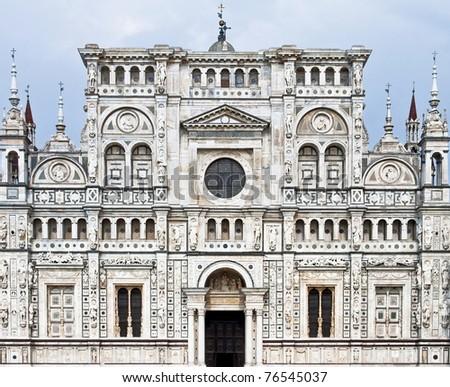 Italian monastery charterhouse, Certosa di Pavia, in Lombardy Italy