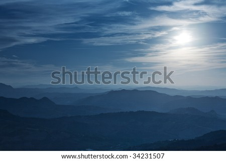 Italian night landscape. Soft blue tint.