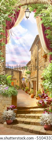 Italian old balcony with flowers pot and street view street \ with monograms, ornaments and crimson curtains