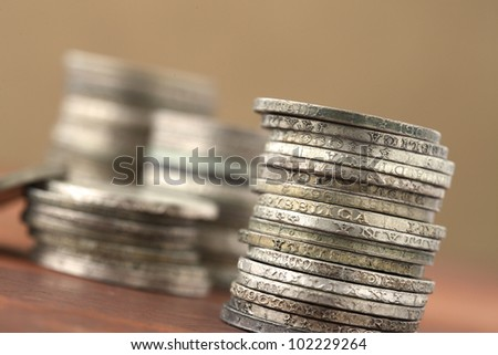 italian old coins on wooden table