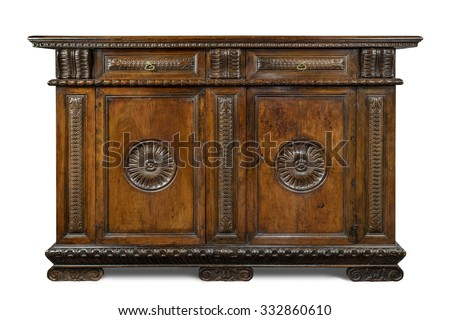 Italian old vintage antique buffet sideboard carved with  drawers  isolated on white with clipping path. #332860610