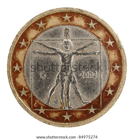 italian one euro, Vitruvian Man, Leonardo da Vinci