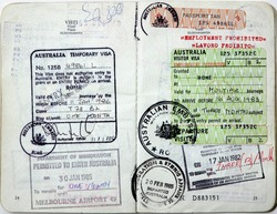 Italian passport. Australia entry visa and border stamps