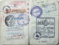 Italian passport.Australia,India,Finland border stamps and Australian visa