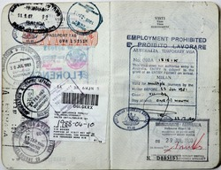 Italian passport. Australia,South Africa and Spain border stamps. Australian  temporary visa