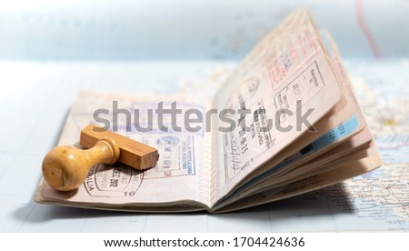 Italian passport pages with a lot of visa stamps. Сток-фото ©