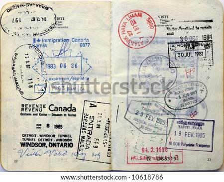 Italian passport. Various border stamps