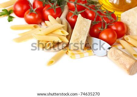Italian pasta, cherry tomatoes and parmesan on white.