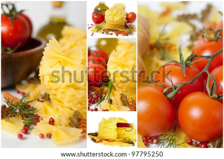 Italian pasta (macaroni). Tomatoes, herbs, spices and olive oil. Collage.