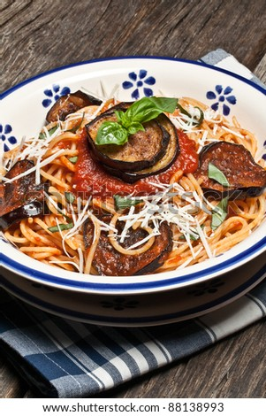 Italian Pasta Norma with tomato,ricotta cheese and eggplants