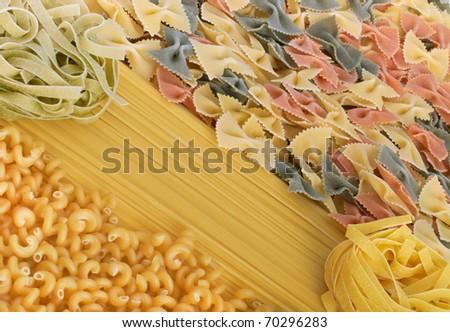 Italian pasta spagetti, tagliatelle fusilli and farfalle