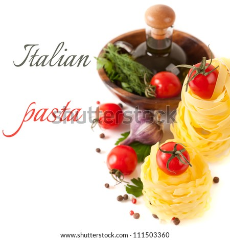 Italian pasta, tomatoes, garlic, spices and herbs (with sample text)