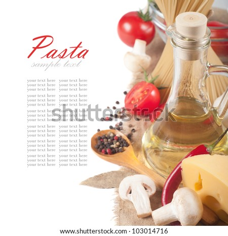 italian pasta with tomato, cheese and mushrooms