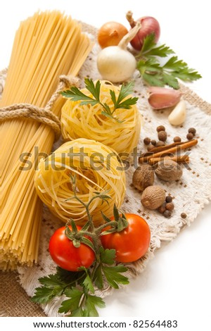 Italian Pasta with tomatoes and spices