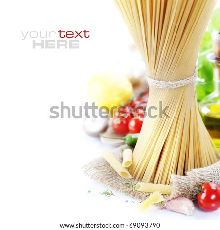 Italian Pasta with tomatoes, mushrooms, olive oil and basil on a white background (with space for text)