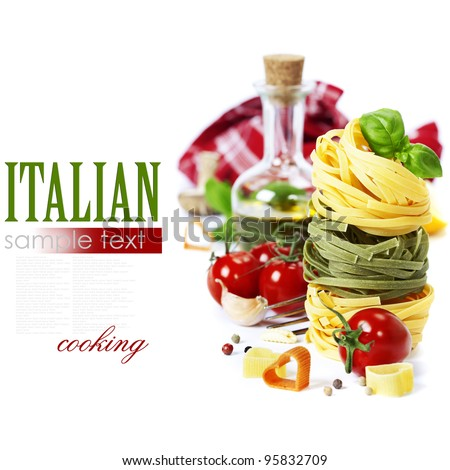 Italian Pasta with tomatoes,  olive oil and basil on a white background (with easy removable sample text)