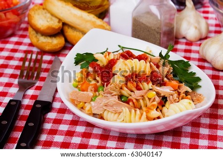 Italian pasta with tuna meat and vegetables