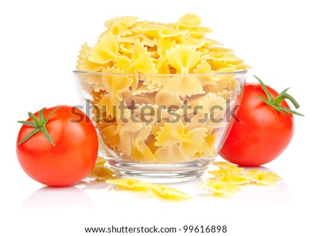 Italian Pasta with Two Tomato isolated on white background