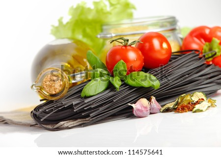 Italian Pasta with vegetables isolated on white.