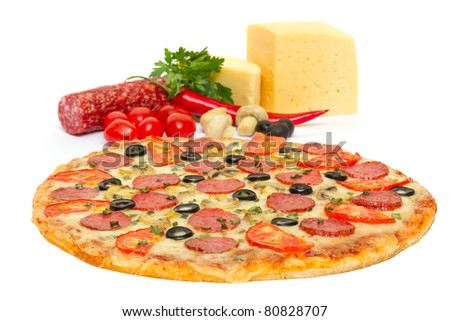 Italian pizza and its ingredients isolated on white - stock photo