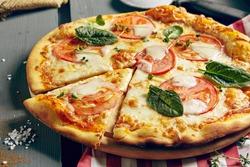 Italian Pizza Restaurant Menu - Classic Margarita Pizza. Pizza Dinner