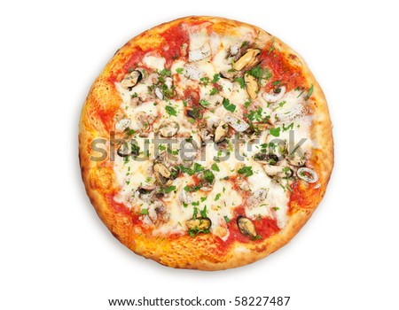 Italian pizza with cheese and other ingredients