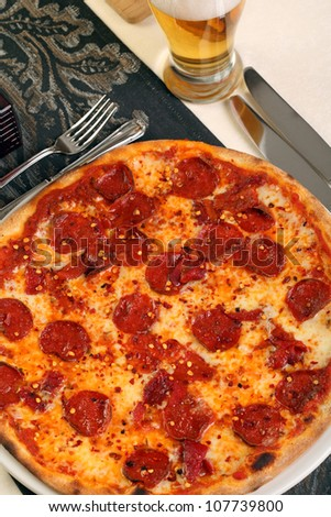 Italian pizza with hot chilly and salami