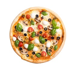 Italian pizza with mozzarella , tomato , olives and mushrooms isolated on white background . Top view . With clipping path included