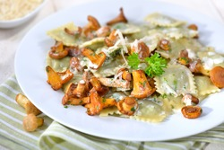 Italian ravioli with fresh roasted chanterelles and creamy parmesan cheese sauce