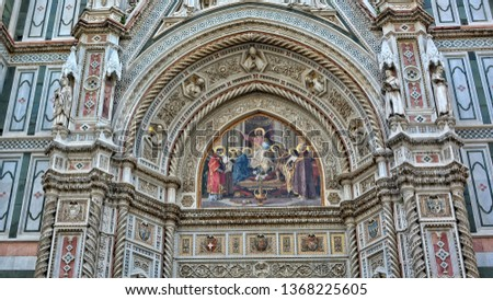 Italian Renaissance. Amazing architectural details with painting, carving & decorations of awesome marble facade of Florence Cathedral. Medieval Art and Architecture. Italy, Florence