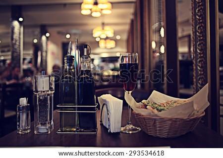 Italian restaurant serving table background
