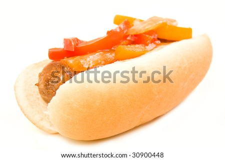 Italian Sausage and peppers on a bun isolated on white
