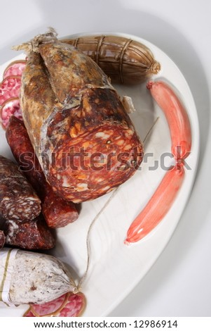 italian sausages on beautiful deco plate