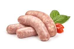 Italian sausages, Raw Salsiccia Sausages, isolated on a white background.