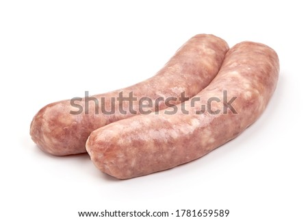 Italian sausages, Raw Salsiccia Sausages, isolated on a white background. Foto d'archivio ©